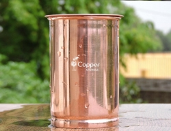 Plain Copper Tumbler with Lid for Storing and Drinking Water for