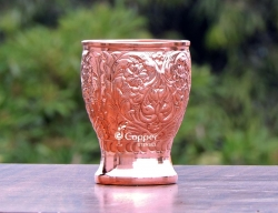 Pure Copper Floral Pattern Embossed Tumbler