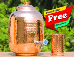 Pure Copper Four and Half Liter Joint Free Water Dispenser With T