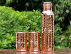 Pure Copper Hammered Bottle with Tw