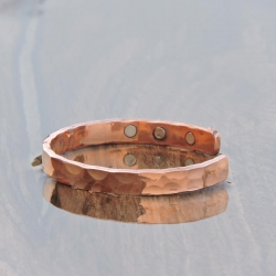 Pure Copper Magnetic Hammered Bracelet with Six Magnets
