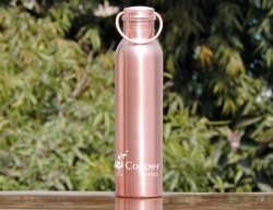 Pure Copper Matte Finish Bottle with Handle 600 ML