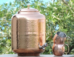 Pure Copper Sixteen Liter Water Dispenser-Get Free Set of 2 Coppe