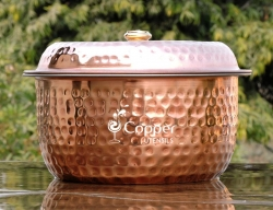Pure Copper and Stainless Steel Casserole Pot with Lid for Servin
