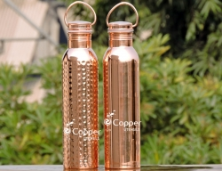 Set of Copper Water Bottle with Carrying Handle