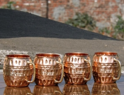 Set of Four Hammered Pure Copper Barrel Moscow Mule Mugs