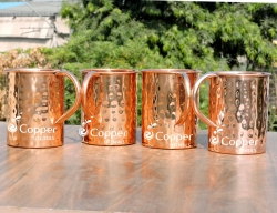 Set of Four Hand Beaten Pure Copper Mug