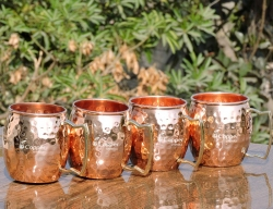 Set of Four Hand Hammered Copper Moscow Mule Mugs with Brass Hand