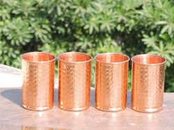 Set of Four Hand Hammered Copper Tumblers