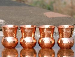 Set of Four Mughlai Style Hand Hammered Copper Tumblers