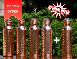 Set of Four Pure Copper Hammered Water Bottles-Get FREE 1000 ml W