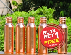 Set of Four Pure Copper Water Bottles-Get FREE 1000 ml Water Bott
