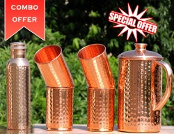 Set of Hammered Copper Jug with Tumblers- Get FREE 600 ml Copper