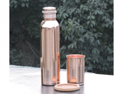Set of One Copper Leak Proof Water Bottle and One Copper Tumbler