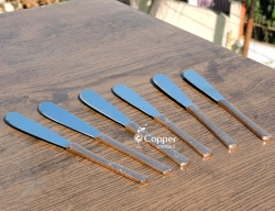 Set of Six Stainless Steel Copper Plated Knives