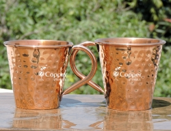Set of Two Copper Cup for Drinking Water