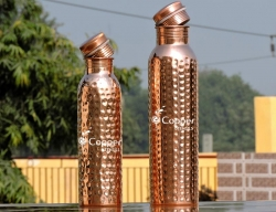 Set of Two Hammered water bottles for Carrying and storing drinki