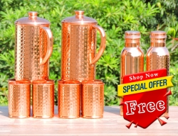 Two Hammered Copper Jug with Eight Tumblers-Get 2 Copper Water Bo
